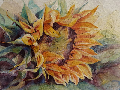 Sun Worshiper ©Carolyn Wilson. Sunflower.Watercolor and rice paper collage.